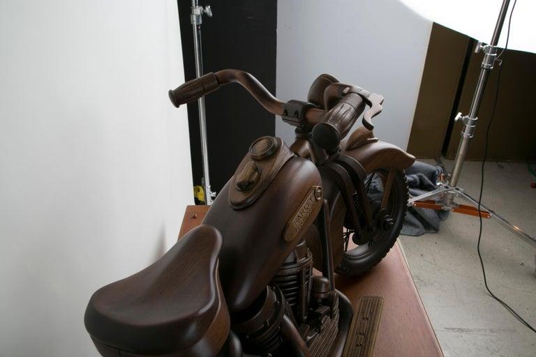 Large-Scale Carved Wood 1948 EL Panhead Harley Davidson with Display Case For Sale 8