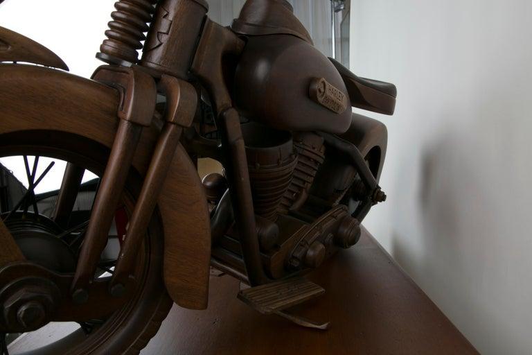 Large-Scale Carved Wood 1948 EL Panhead Harley Davidson with Display Case For Sale 9