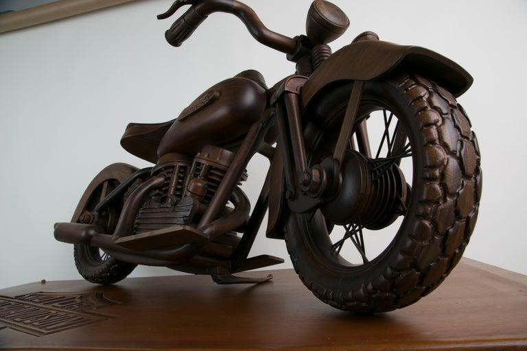 Large-Scale Carved Wood 1948 EL Panhead Harley Davidson with Display Case For Sale 10