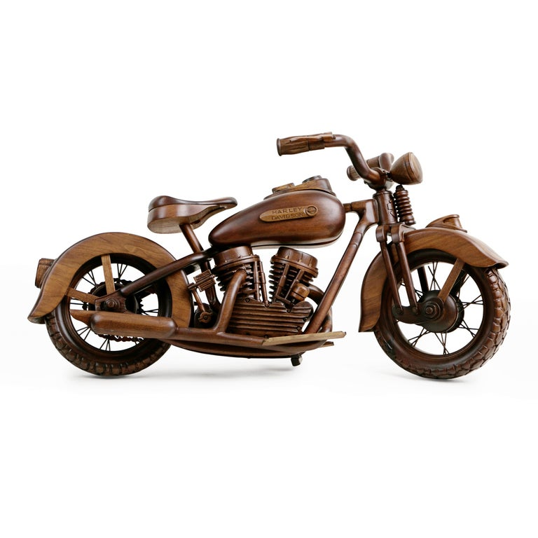 American Large-Scale Carved Wood 1948 EL Panhead Harley Davidson with Display Case For Sale