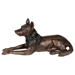 Large Scale Cast Bronze Dog Sculpture
