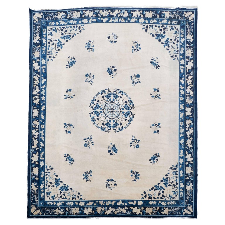 Large Scale Chinese Art Deco Rug in Cream and Navy with Floral Motifs
