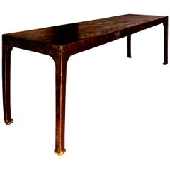 Large Scale Chinese Brown-Painted Elm Console