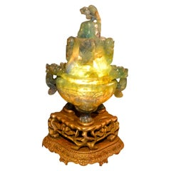 Large Scale Chinese Carved Flourite Incense Burner/Lamp