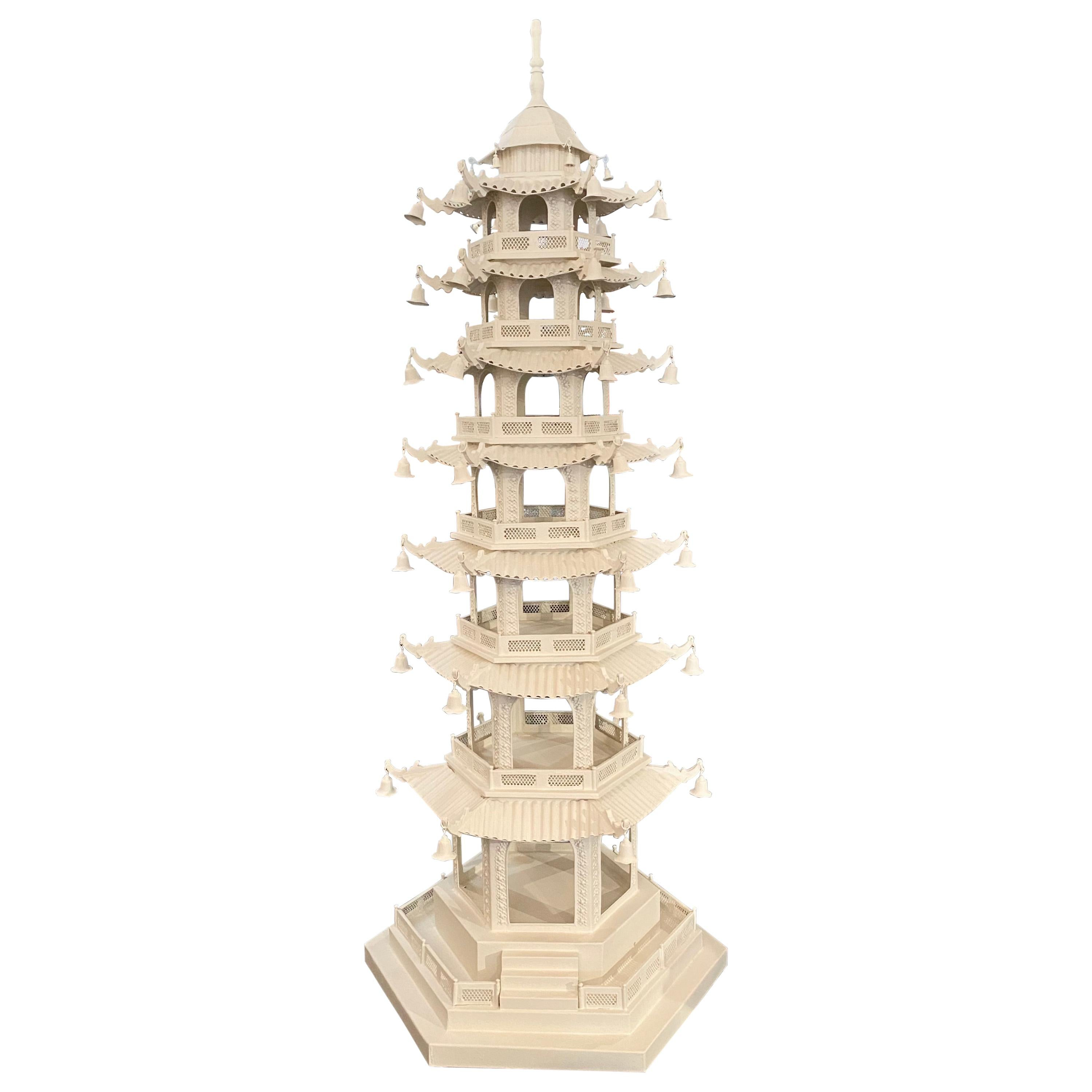 Large-Scale Chinoiserie Pagoda, Seven-Tier, White Painted Tôle