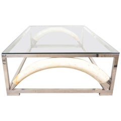 Large Scale Coffee Table with Resin Elephant Tusks, France, 1970