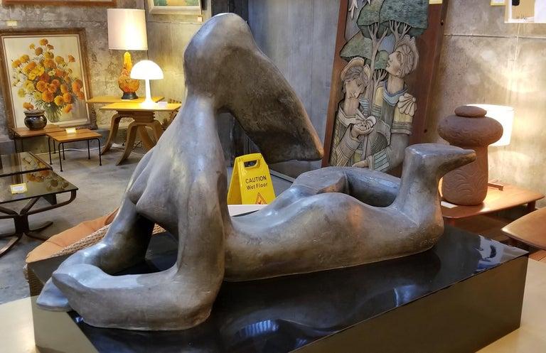 20th Century Large Scale Cubist Bronze Nude Sculpture For Sale