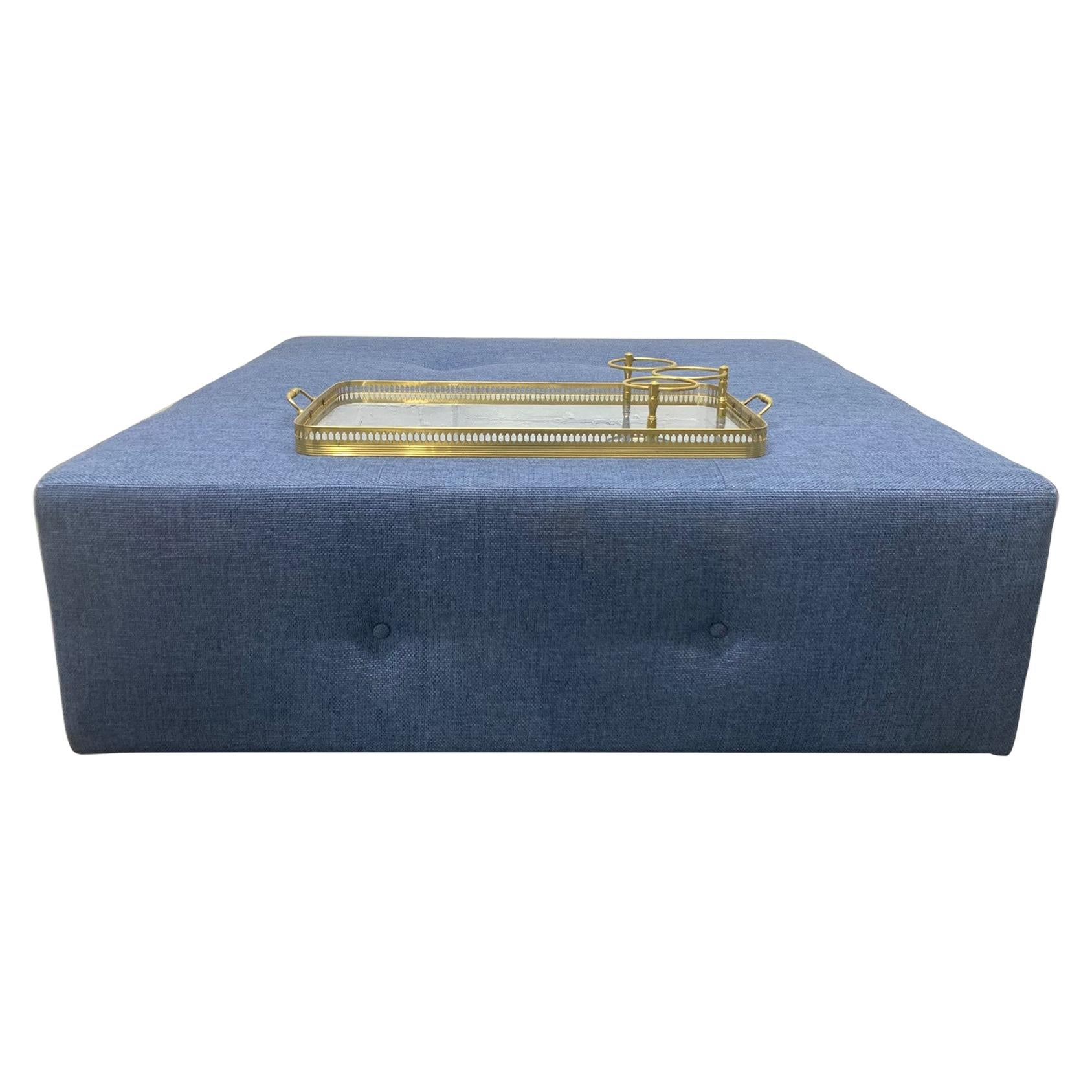 Large-Scale Custom Designed Tufted Ottoman with Brass Serving Tray