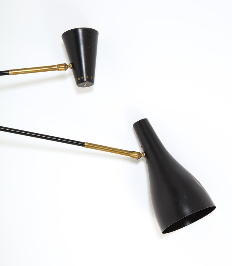 Mid-Century Modern Large Scale Double Swing Arm Sconce by Arlus For Sale