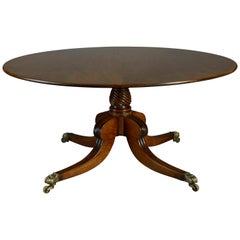 Large Scale Early 19th Century Regency Period Circular Mahogany Dining Table
