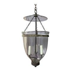 Large Scale English Glass Bell Jar Three-Light Lantern, circa 1820