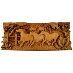 Hand Carved Wood Large-Scale Equestrian Western Sculpture
