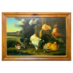 Large Scale European Oil on Canvas Painting of Chickens and Roosters