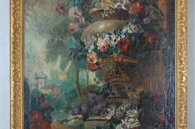 Victorian Large Scale Floral Painting of Urn in a Landscape, Dutch, 19th Century For Sale