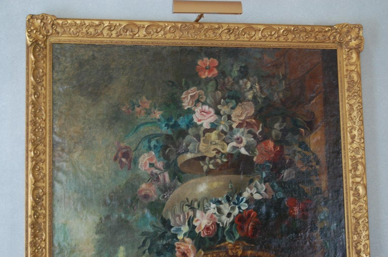 Danish Large Scale Floral Painting of Urn in a Landscape, Dutch, 19th Century For Sale