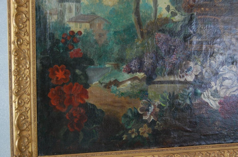 Hand-Painted Large Scale Floral Painting of Urn in a Landscape, Dutch, 19th Century For Sale