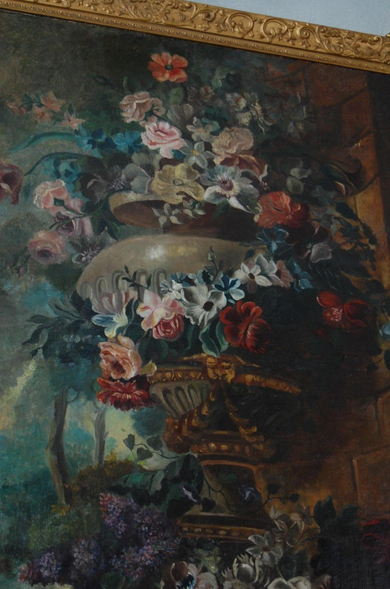 Large Scale Floral Painting of Urn in a Landscape, Dutch, 19th Century In Good Condition For Sale In Pittsburgh, PA