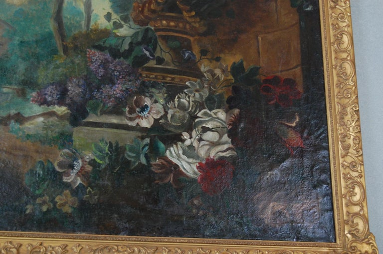 Canvas Large Scale Floral Painting of Urn in a Landscape, Dutch, 19th Century For Sale