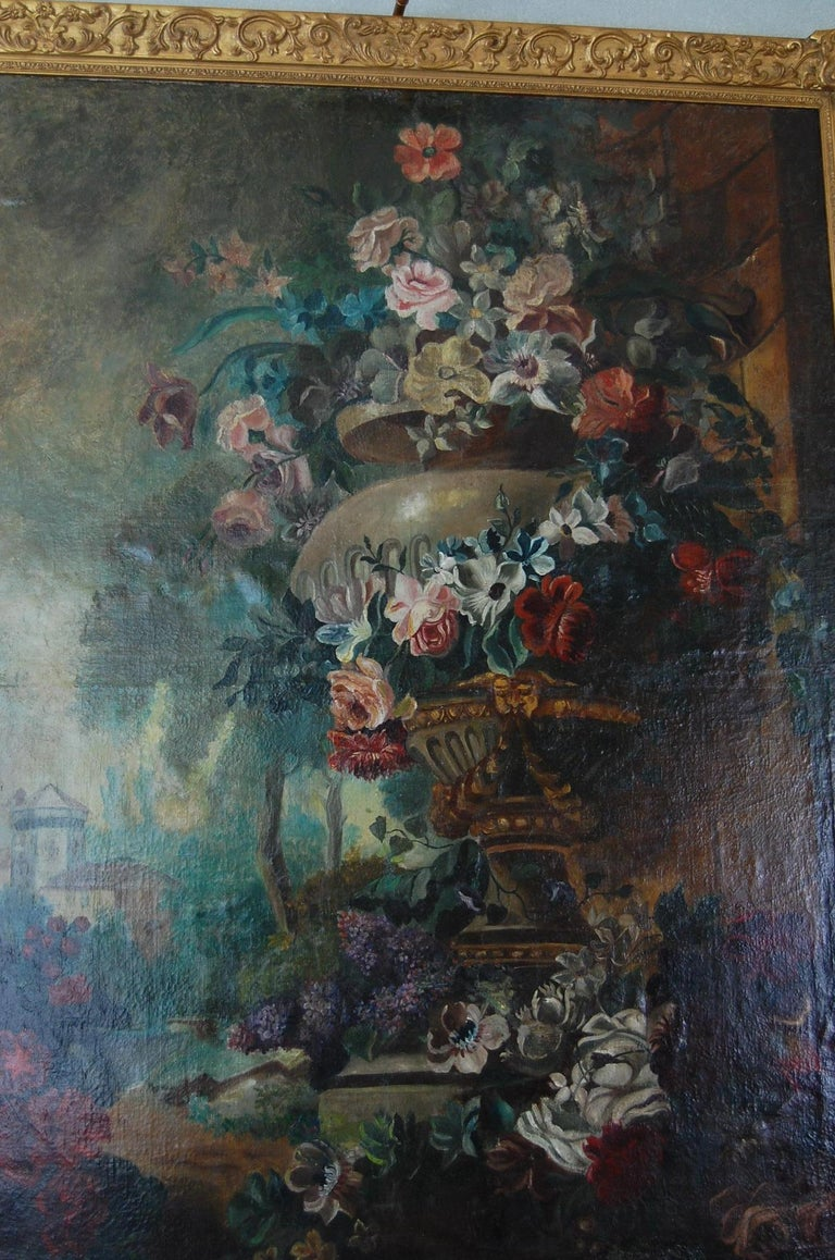 Large Scale Floral Painting of Urn in a Landscape, Dutch, 19th Century For Sale 1