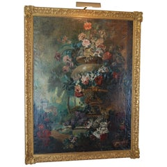 Large Scale Floral Painting of Urn in a Landscape, Dutch, 19th Century