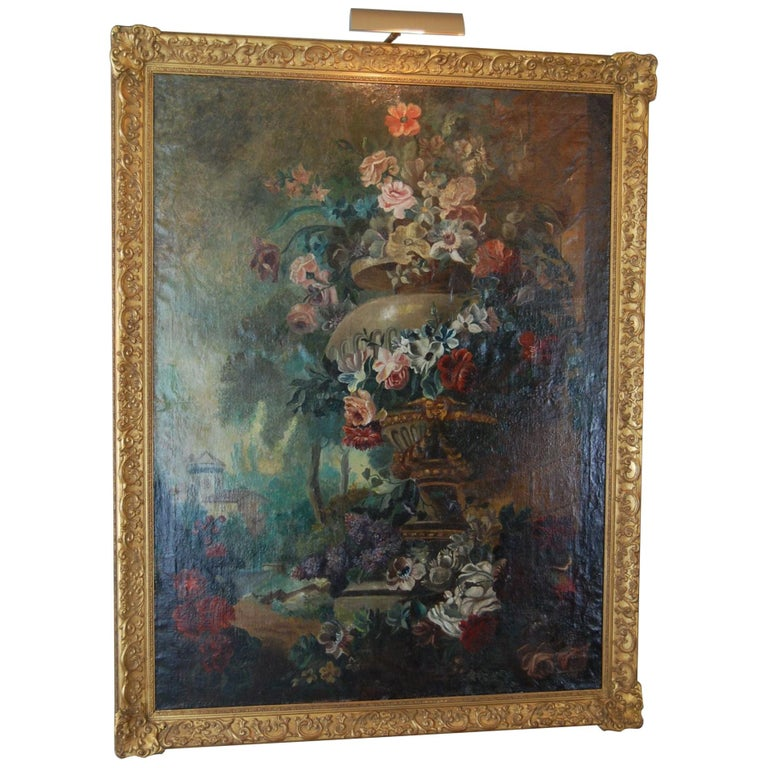 Large Scale Floral Painting of Urn in a Landscape, Dutch, 19th Century For Sale