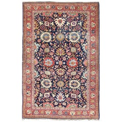 Large-Scale Flowers Design Antique Persian Sultanabad Mahal Rug in Navy Blue