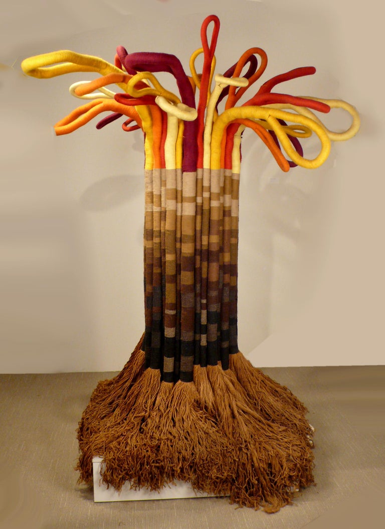 Mid-Century Modern Large Scale Freestanding Fiber Art Sculpture by Jane Knight Titled 'the Tree' For Sale