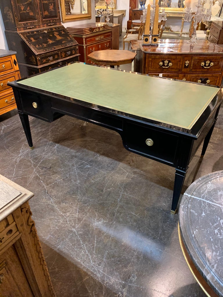 Large Scale French Maison Jansen Style Black Lacquered Desk For Sale 1