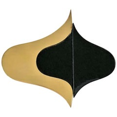 Large Scale Gold and Onyx Modernist Brooch