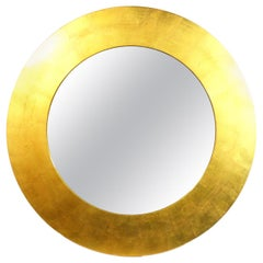 Large Scale Gold Leaf Circle Mirror