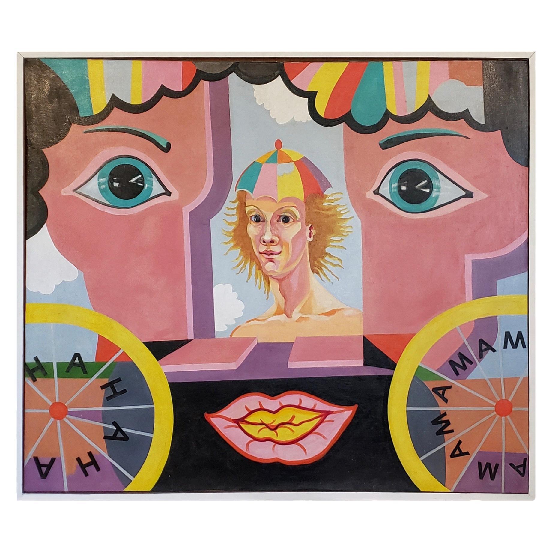 "Large Scale ""Ha Ha Ha"" Original Oil on Canvas by Larsen, circa 1940s-1950s"