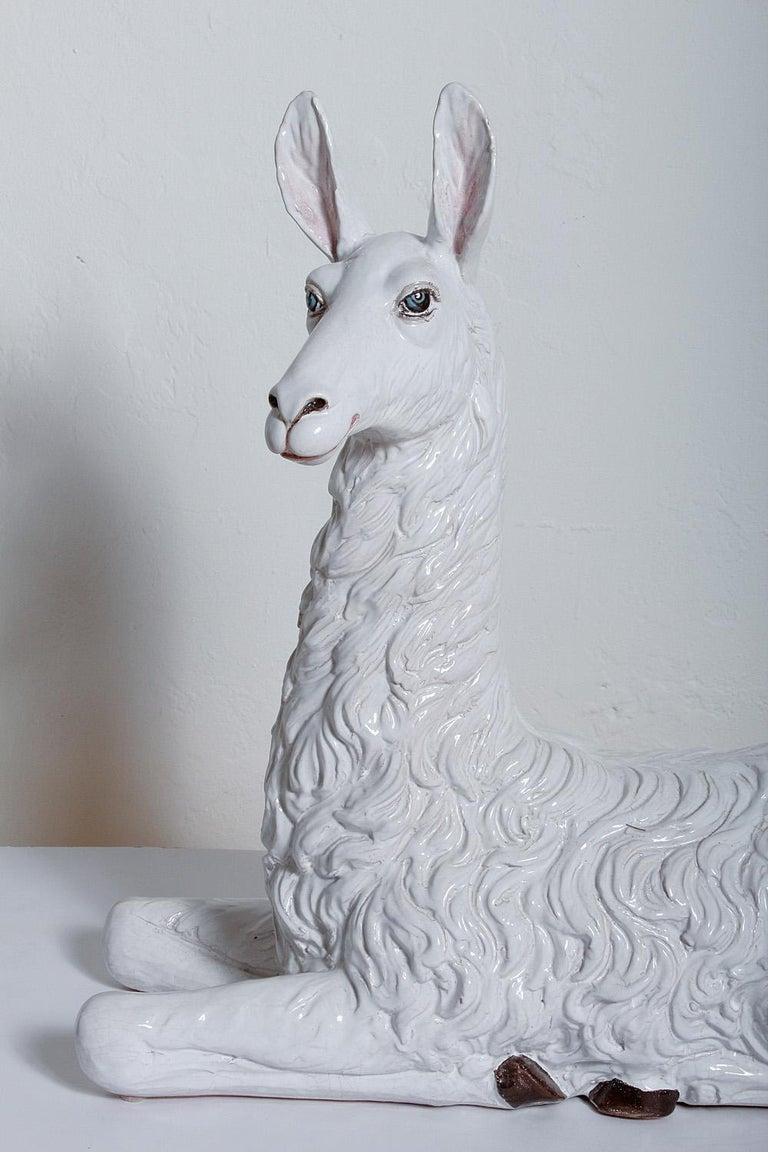 Italian Large-Scale Hand Painted, Glazed Ceramic Llama, Italy, circa 1970 For Sale