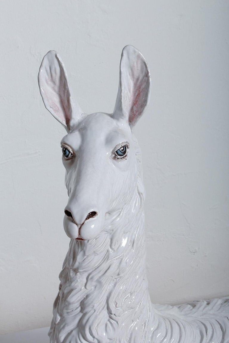 Large-Scale Hand Painted, Glazed Ceramic Llama, Italy, circa 1970 For Sale 2