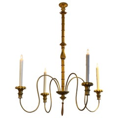 Large Scale Hollywood Regency Faux Bamboo Chandelier