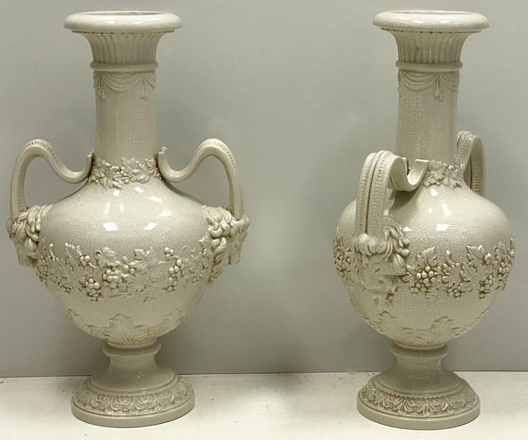 20th Century Large Scale Italian Neoclassical Style Urns or Vases with Ram's Heads, a Pair For Sale