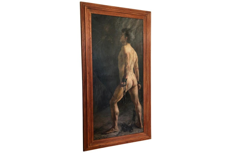An outstanding and grand scale oil on canvas painting of a nude male. Entitled