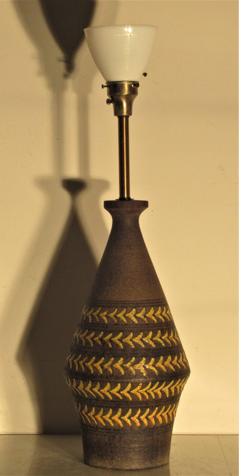 Large Scale Italian Pottery Lamp, 1950s For Sale 3