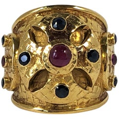 Large Scale Lalaounis Gold Band Ring with Rubies and Sapphires