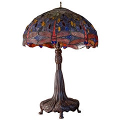 Large Scale Leaded Glass Table Lamp in the Style of Tiffany Studios New York