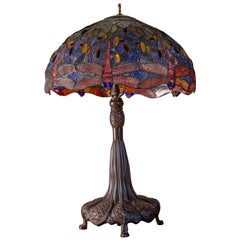 Large Scale Leaded Glass Table Lamp N the Manner of Tiffany Studios New York
