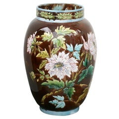"Large Scale Majolica Floral Vase ""Aesthetic Movement"""
