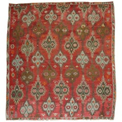 Large Scale Masculine Antique Turkish Kilim Room Size Rug, Early 20th Century