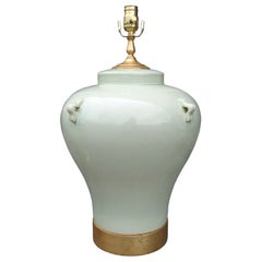 Large Scale Mid-20th Century Celadon Pottery Lamp on Custom Giltwood Base