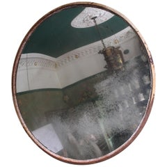 Large Scale Mid-20th Century Foxed Industrial Convex Railway Mirror