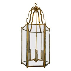 Large Scale Mid-20th Century Georgian Style Brass Six-Light Lantern