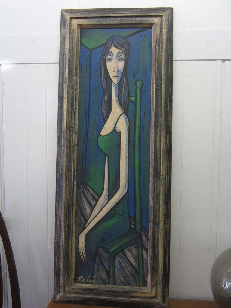 Large Scale Mid-Century Modern Oil Painting Blue Lady in Chair Portier For Sale 4