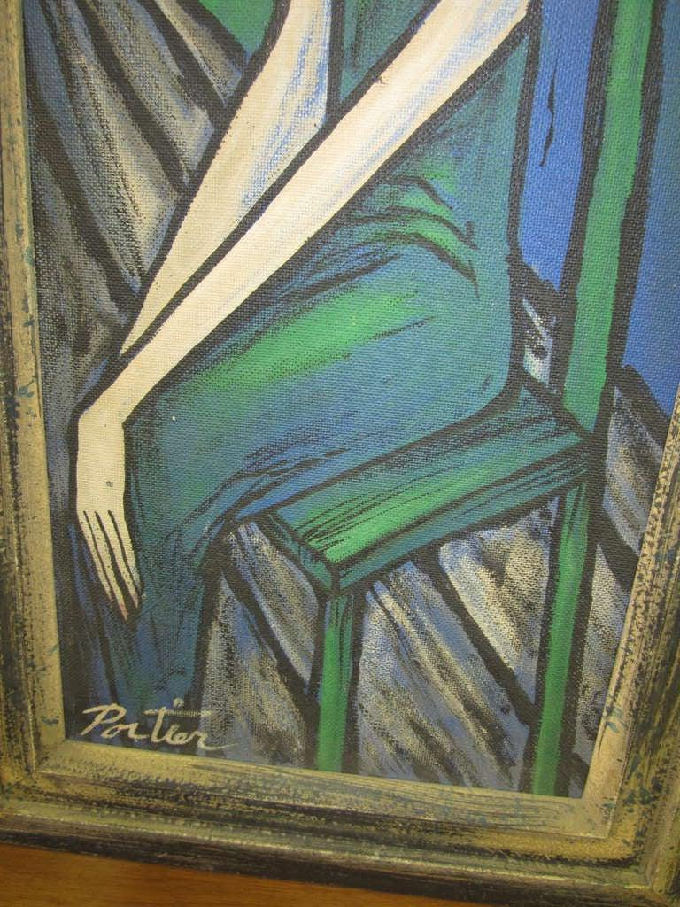 Mid-20th Century Large Scale Mid-Century Modern Oil Painting Blue Lady in Chair Portier For Sale
