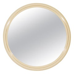 Large Scale Mid-Century Modern Round or Circular Wall Mirror in White Lacquer