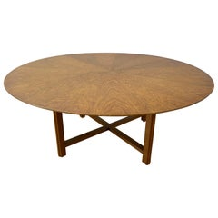 Large Scale Mid Century Round Walnut Coffee Table by Henredon, c.1960