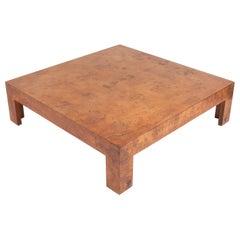 Large Scale Milo Baughman Burl Coffee Table